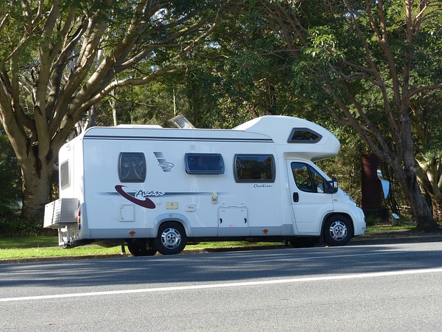 An RV parked under shady trees