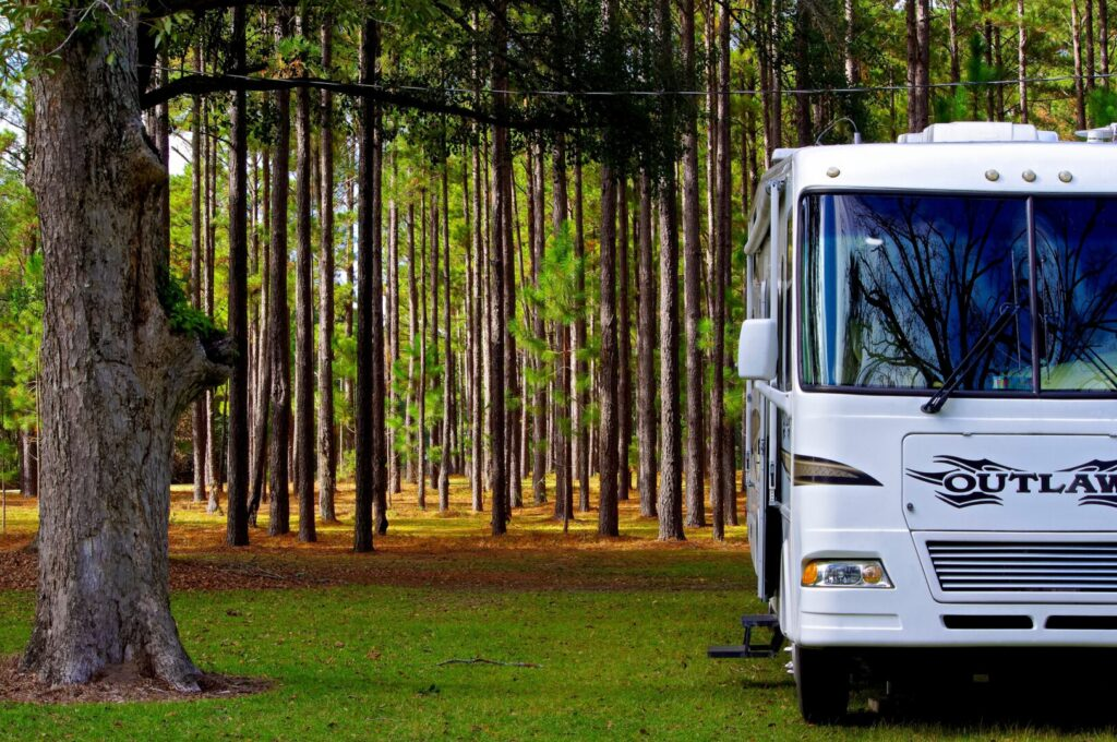 RV parked in woods