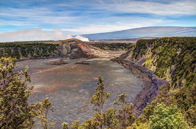 smoke rises from Kilauea Iki Crater at Hawaii Volcanoes National Park