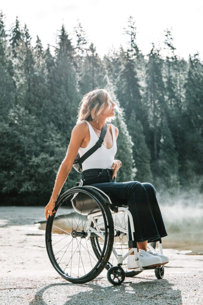 Lady in wheelchair outdoors