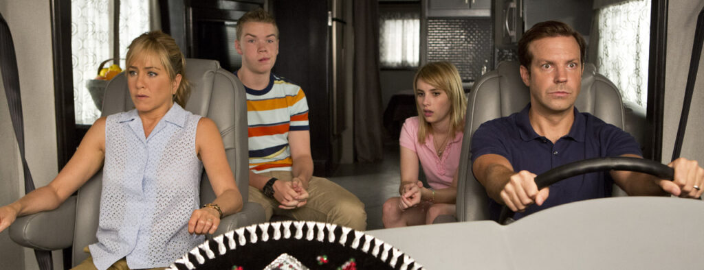 Still frame from We're the Millers - the fictional family sits in their RV