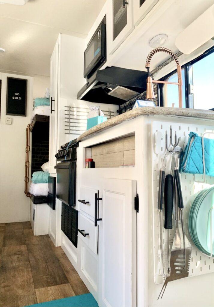 renovated rv kitchen interior