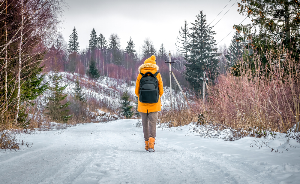 A hiker walks in the woods with a backpack on a snowy road