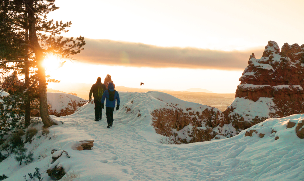 Sunrise winter hike in Bryce Canyon National Park