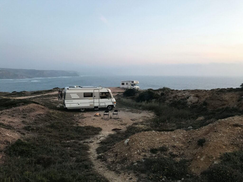 RV parked on cliff