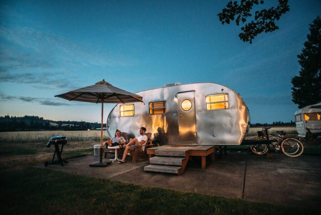 RV on campsite pad