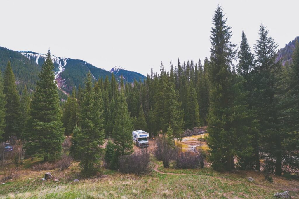 Camping in RV in Colorado Mountains