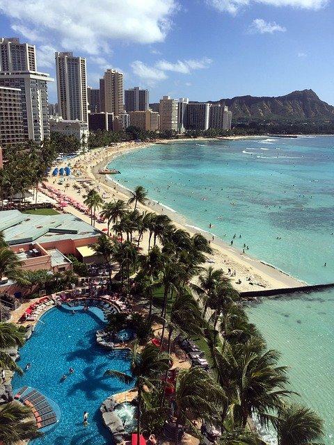 an overhead shot of Waikiki beach with resort hotels