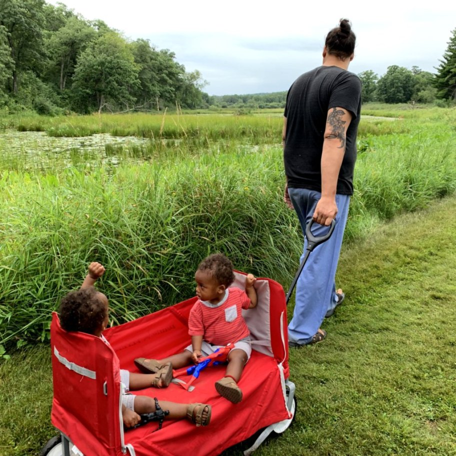 Father pulls two young boys in a wagon along grassy trail