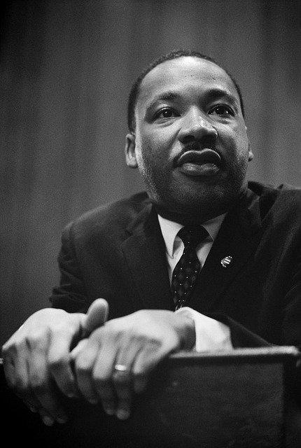 MLK at podium, black & white photo