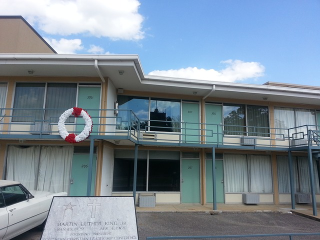 Lorraine Motel exterior with white and red wreath