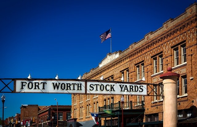 the exterior of the Fort Worth Stockyards building