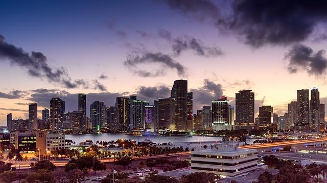 The Miami skyline at sunset