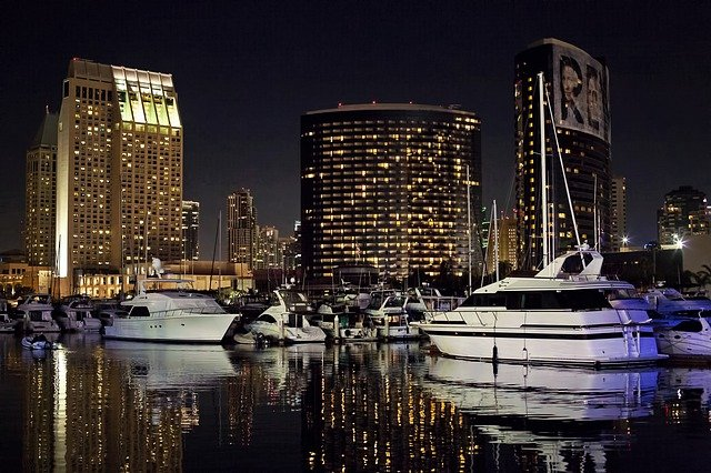 a nighttime view of the San Diego Harbor