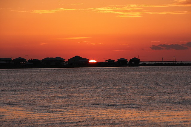 sunset at Grand Isle, Louisiana