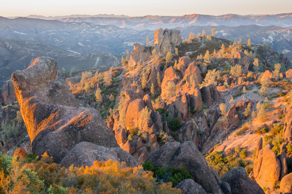 Last Sunlight on High Peaks at Pinnacles National Park. San Benito County, California, USA.