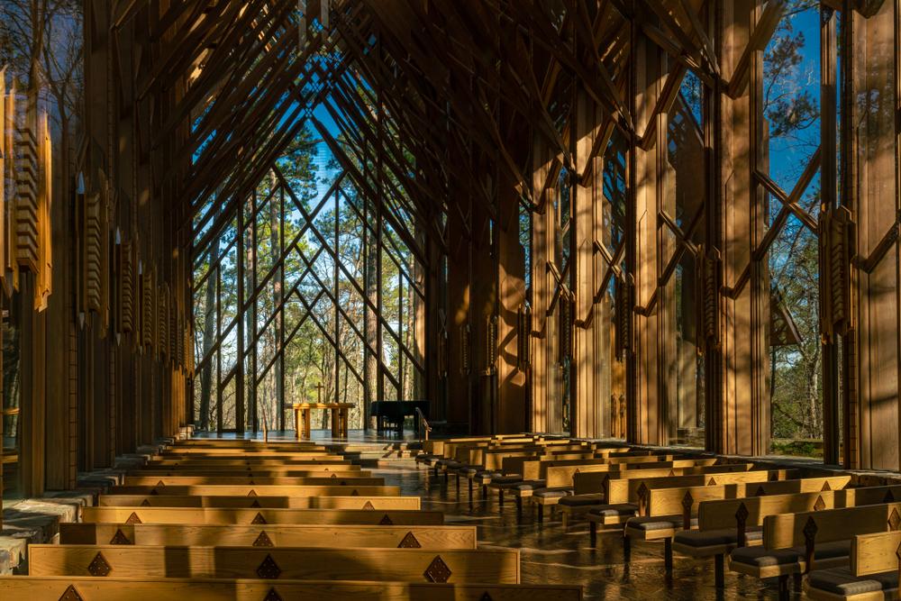 Eureka Springs, Arkansas/USA - March 14, 2019. The beautiful interior of the Thorncrown Chapel in Eureka, Arkansas.