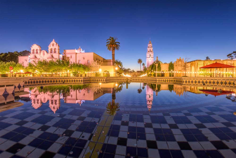 Balboa Park, San Diego, California, USA plaza fountain at night.