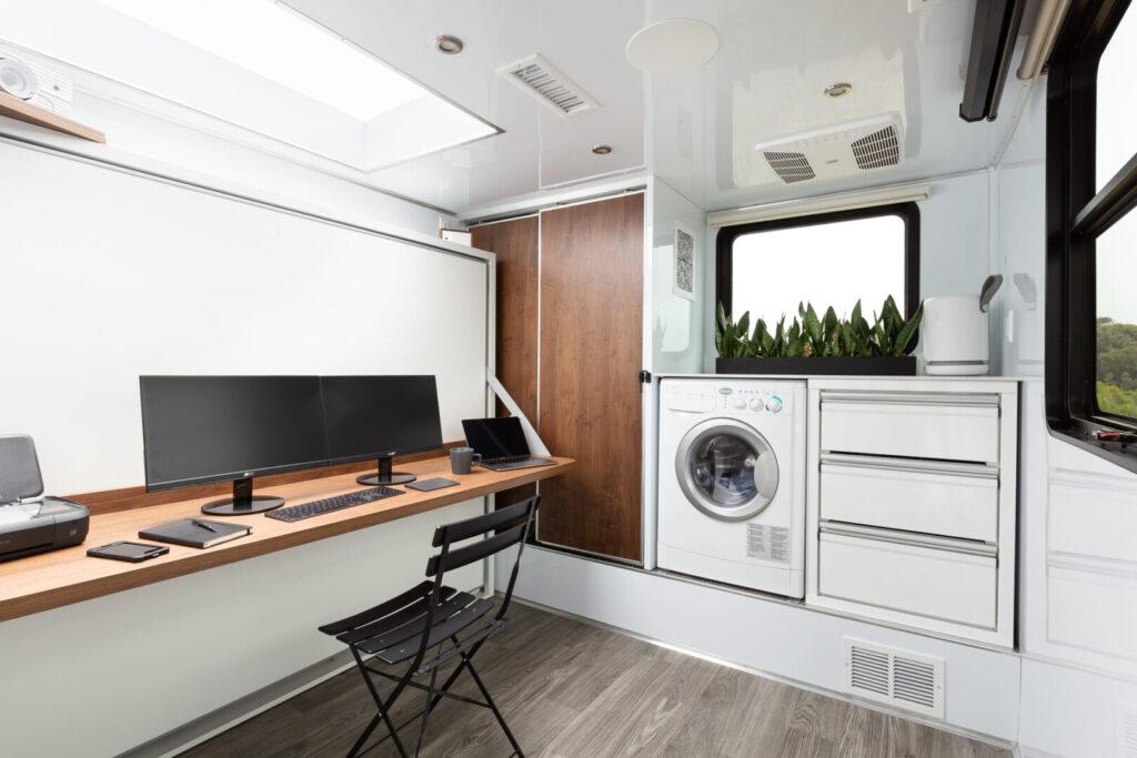 Desk/office set up inside travel trailer