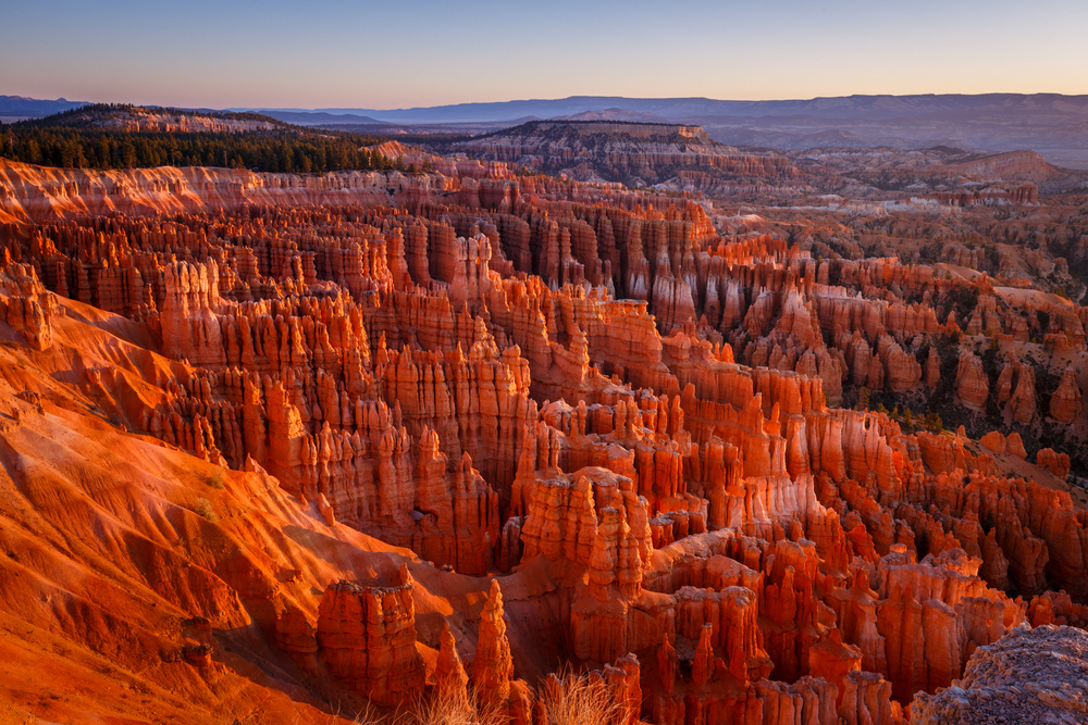 Inspiration Point during beautiful sunrise, with hoodoos - unique rock formations from sandstone made by geological erosion. Bryce National Park, Utah, USA