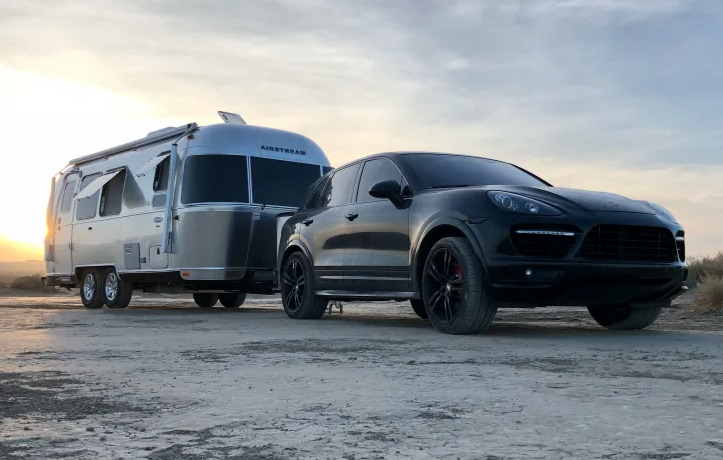 2018 Airstream being towed by truck