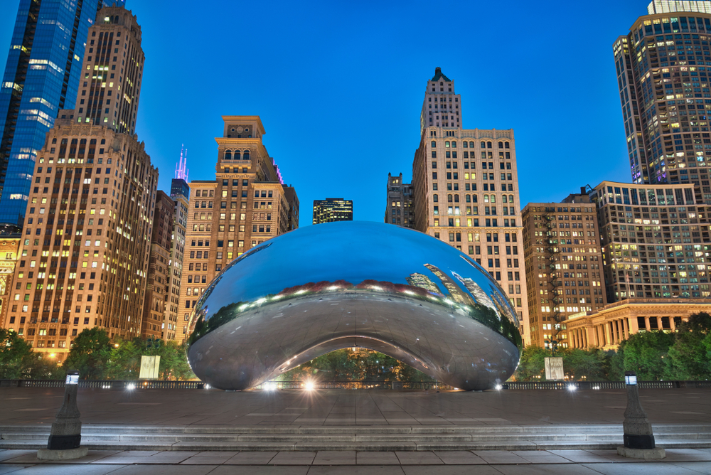 Photo of the Millenium Park at the blue hour time