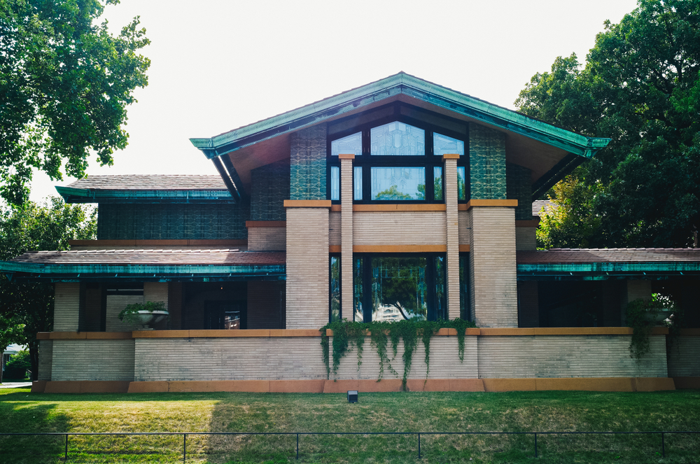 Springfield, Illinois, USA - July 23 2009: Dana Thomas House by Frank Lloyd Wright, a residential home in the prairie style of architecture.