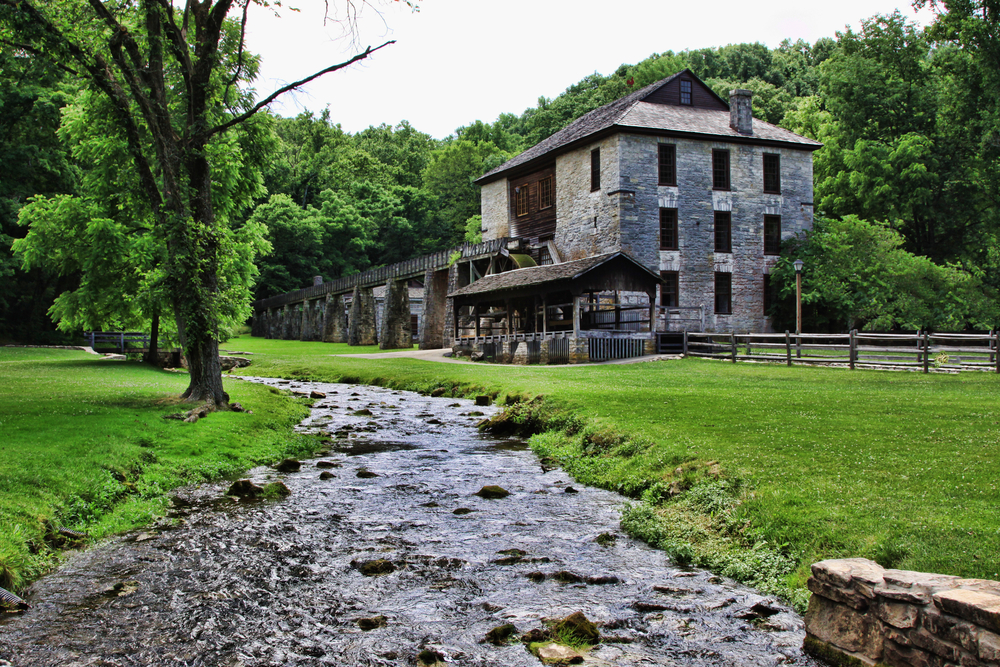 grist mill at Spring MIll State Park with view of water trough and water wheel