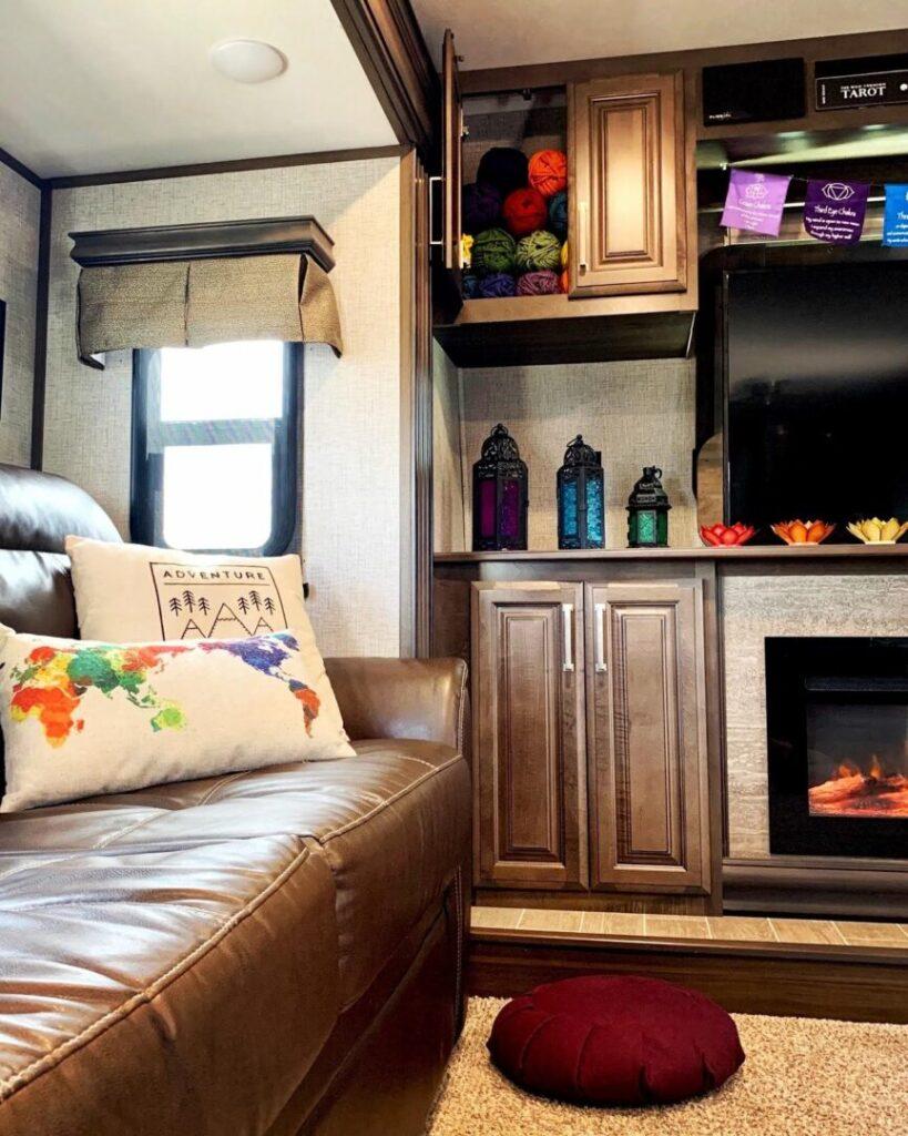 Interior living room of a fifth-wheel trailer