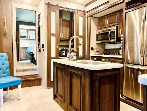 Interior kitchen of fifth wheel trailer
