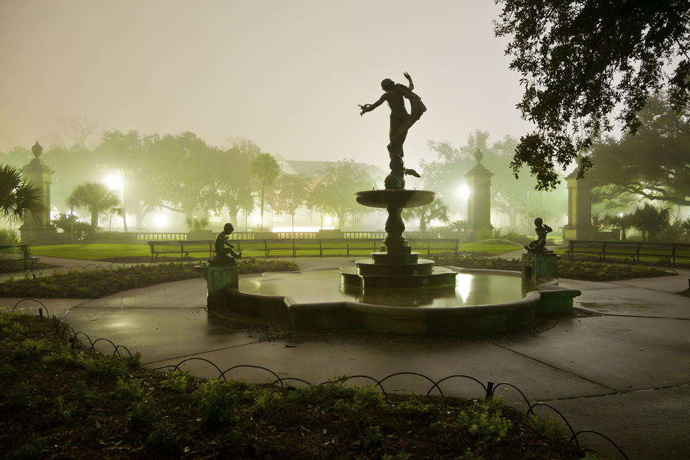 Silhouette of a Statue and Fountain at night in Audubon Park, New Orleans, Louisiana., just steps from the Dillard House