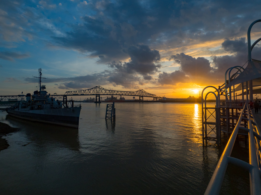 Sunset on the Mississippi with the USS KIDD in the background