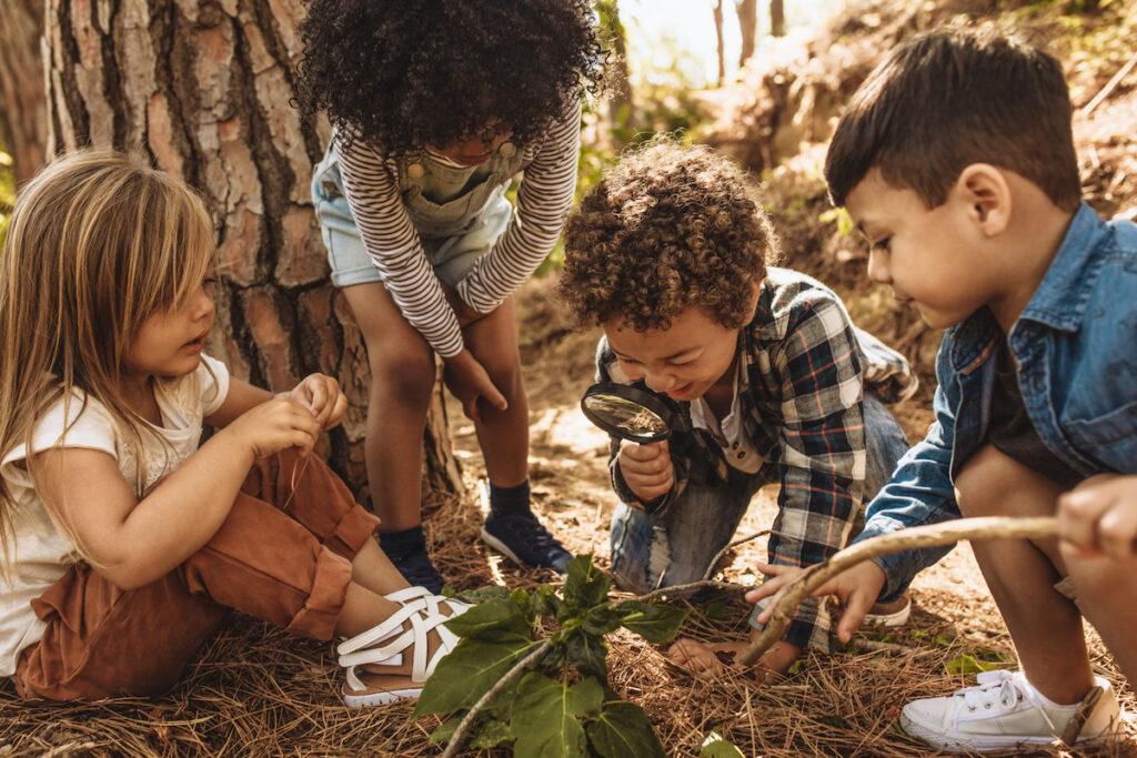 Kids exploring outside