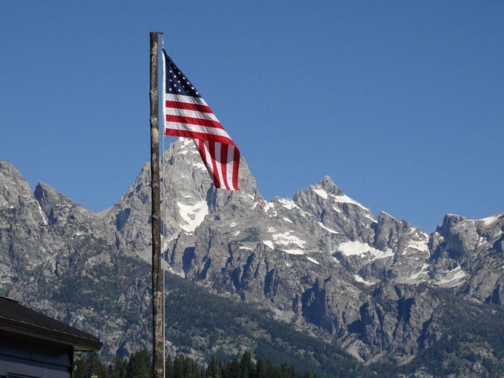American Flag in Grand Tetons National Park