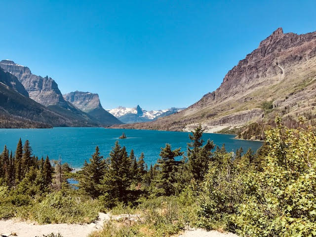 Sunny day at a lake in Glacier National Park