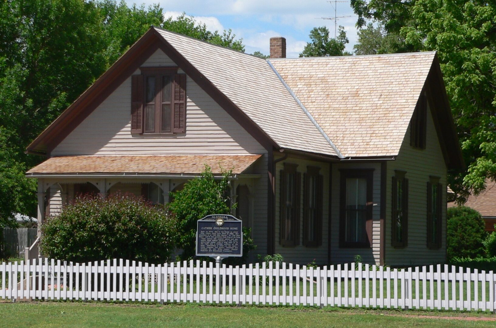 Willa Cather House on the southwest corner of 3rd Avenue and Cedar Street in Red Cloud, Nebraska