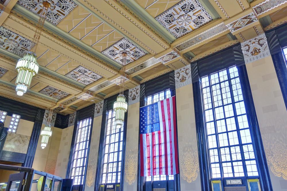 OMAHA, NE -20 APR 2019- View of the landmark historic Omaha Union Station, an Art Deco building in Omaha, Nebraska, United States.