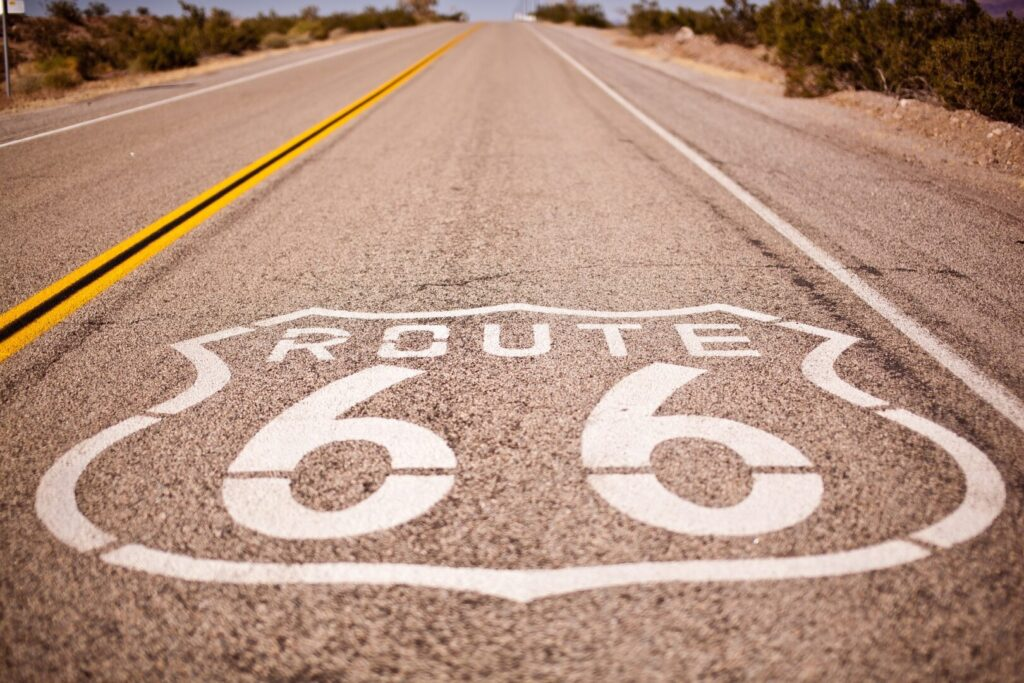 Route 66 painted on road