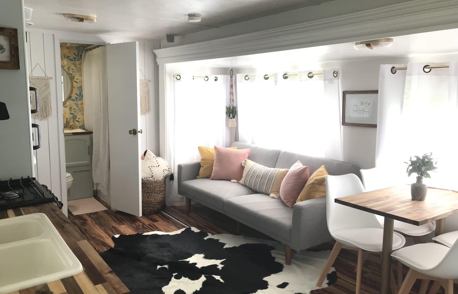 updated boho rv living room