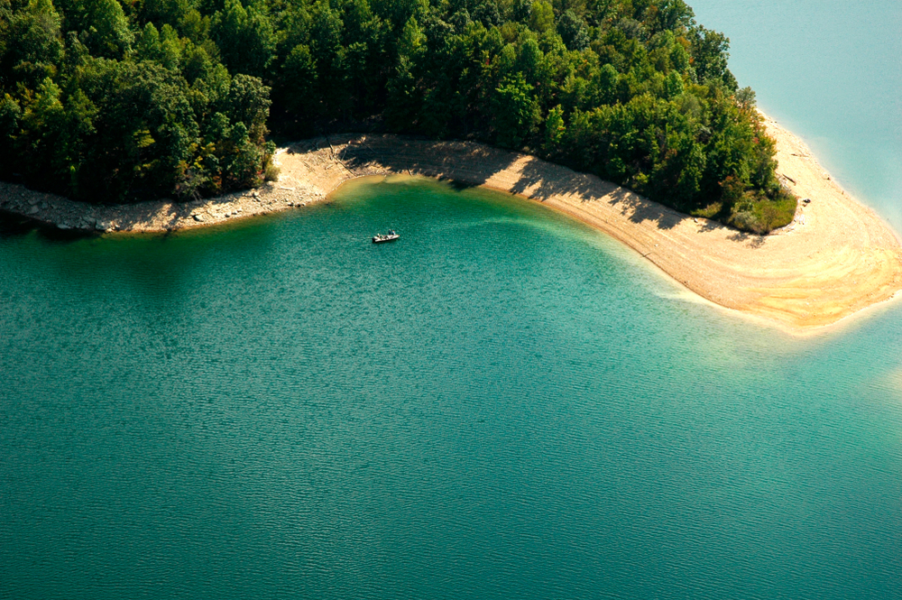 An aerial view of the beach at Summersville Lake