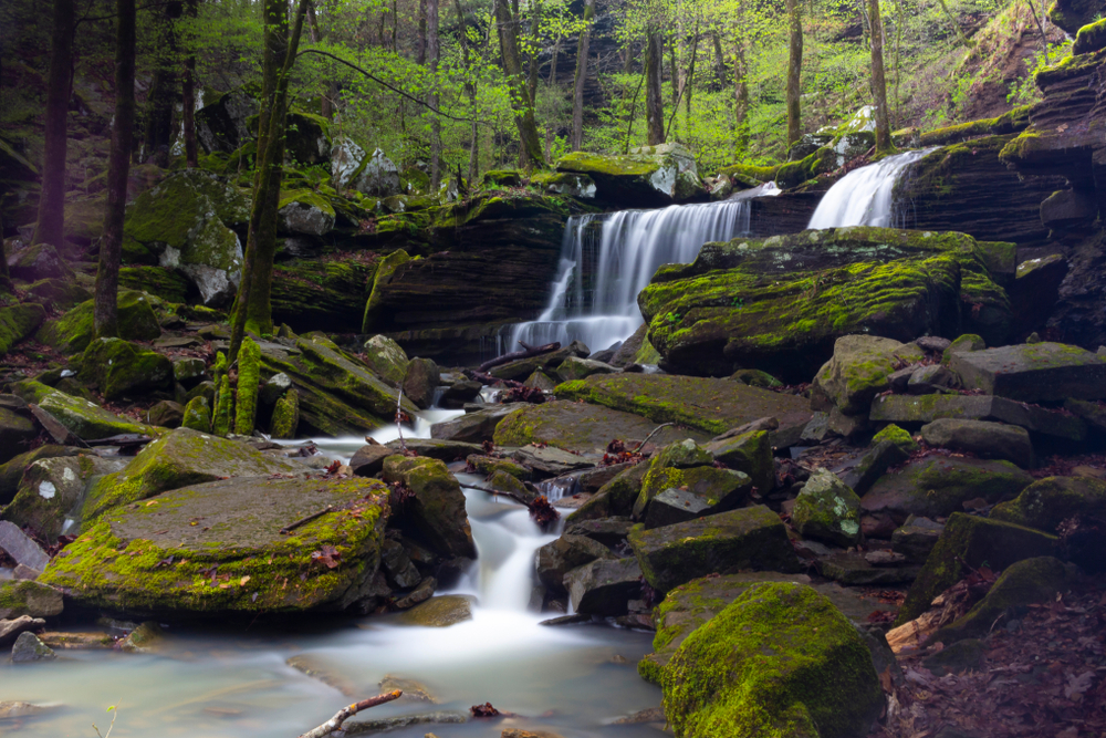 A flowing waterfall, shot on a long exposure, in Arkansas with nature covered in moss.