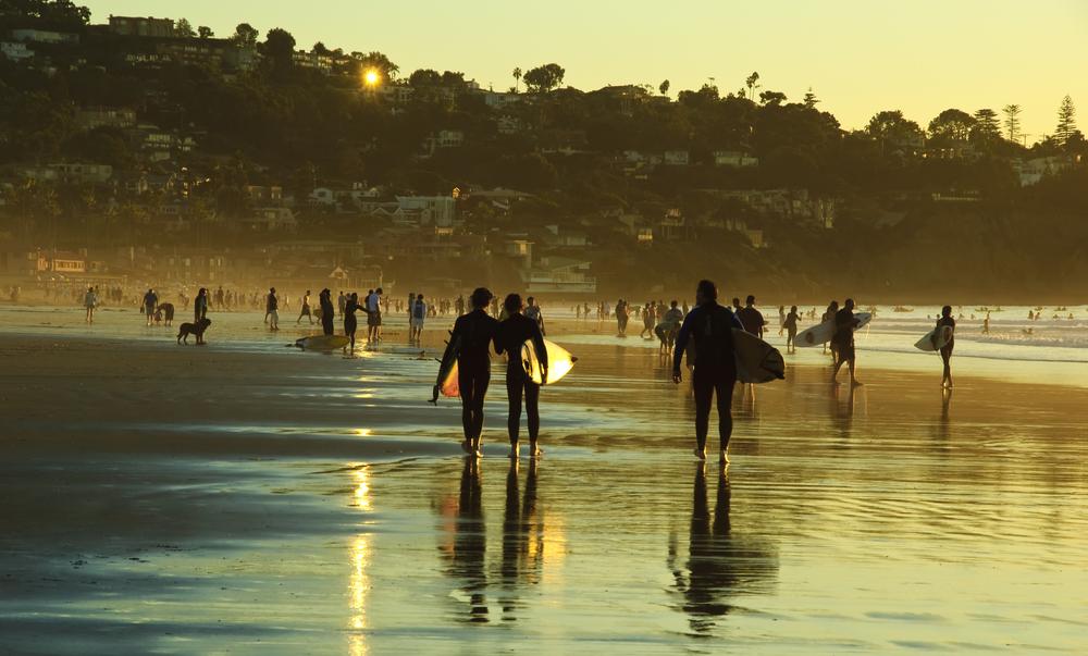 Surfers, La Jolla Shore. San Diego, California