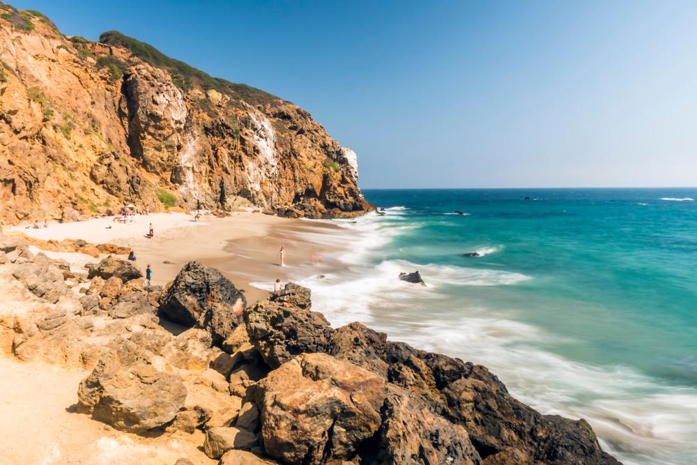 Dume Cove Malibu, Zuma Beach, emerald and blue water in a quite paradise beach surrounded by cliffs. Dume Cove, Malibu, California, CA, USA