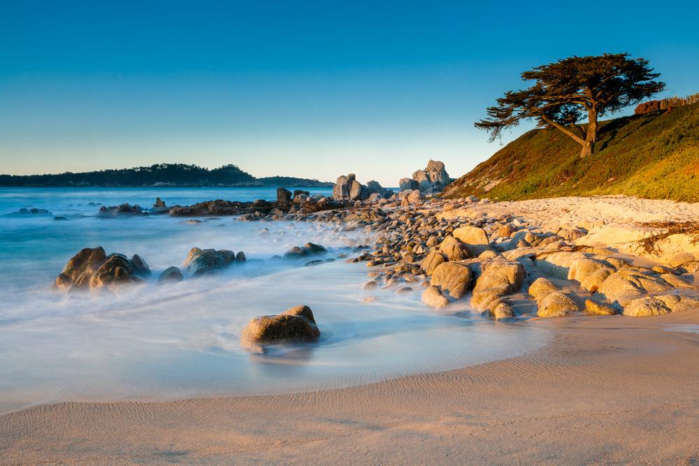 Sunrise at coast of Carmel, California, USA