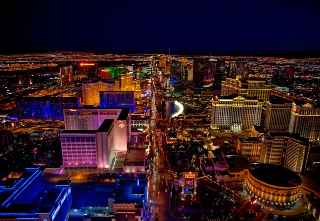 The Last Vegas Strip lit up at night