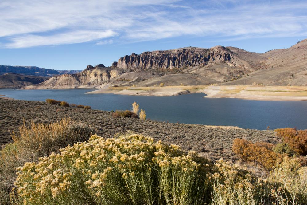The Dillon Pinnacles and Blue Mesa Reservoir at Curecanti National Recreation Area, Colorado.