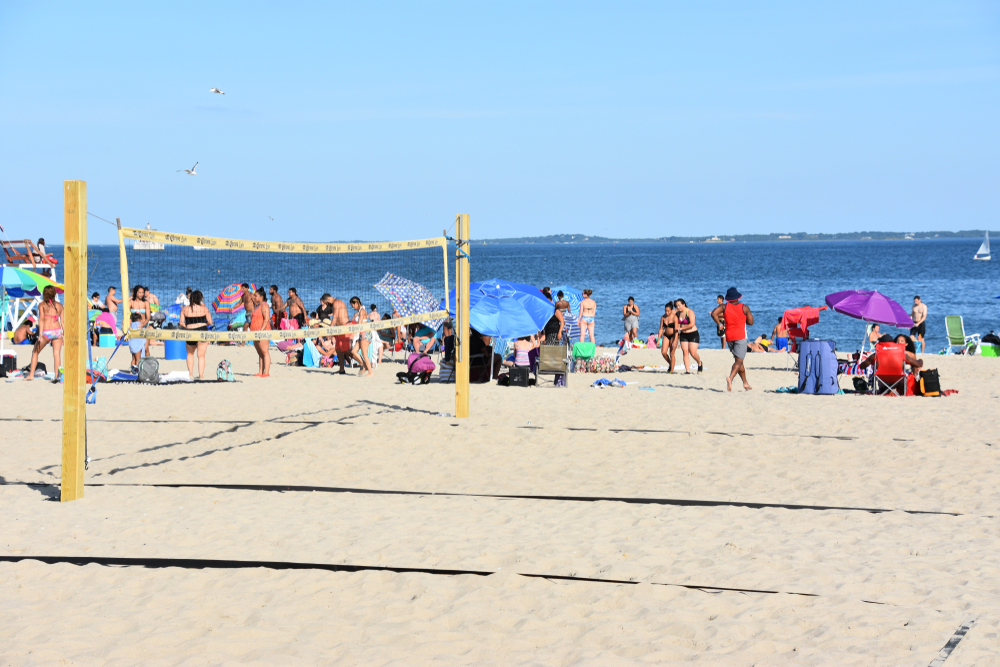 NEW LONDON, CT - AUG 13: Ocean Beach in New London, Connecticut, as seen on Aug 13, 2017. It offers a spectacular view, rides, waterslides, a mini golf course, and an arcade with retro games.