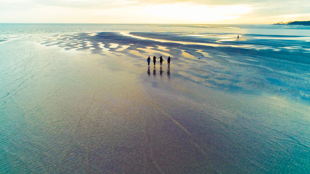 Tybee Abstract Island Aerial Shots of Girls Walking Together on the beach