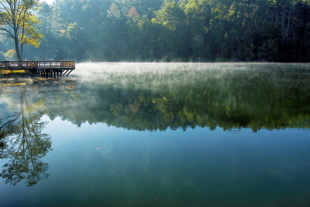 Steam rising off a beautiful Georgia lake