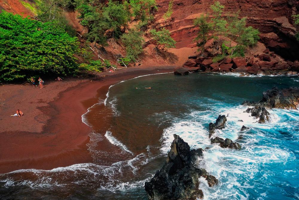 Hawaii Maui Hana Kaihalulu red sand beach